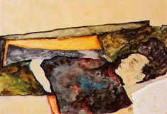 Egon Schiele; Morte dell'artista mentre dorme; 1911; carboncino; collezione privata.