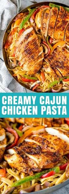 Creamy Cajun Chicken Pasta is the perfect family meal. Juicy cajun-spiced chicken is served over a bed of creamy linguine that's packed full of sautéed veggies.