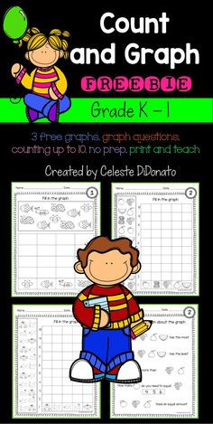 Count and Graph Freebie. Perfect math practice for kindergarten and first graders. 3 Graphs to count and fill in. Each graph has 5 questions.