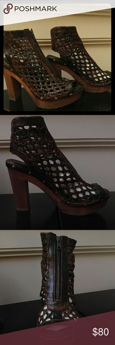 """Sbicca Nitra Leather Caged Peep Toe Platform Wedge NWT hand distressed leather, front zipper, approx 4.75"""" heel height, 1.5"""" platform height Sbicca Shoes"""