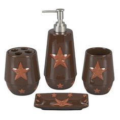 Hiend Accents Star 4 Piece Bathroom Accessory Set Color Rust