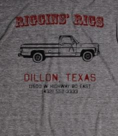 Riggins Rigs Shirt - Red Version - East Dillon Lions colors - To honor Billy Riggins coaching at East Dillon, we at Riggins' Rigs have updated our logo. Tim Riggins still bleeds Blue and Gold, but we felt the...