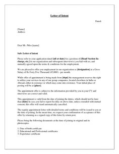 Letter Of Intent Format  Free Resume Builder  what is letter of intent  Real State  Pinterest