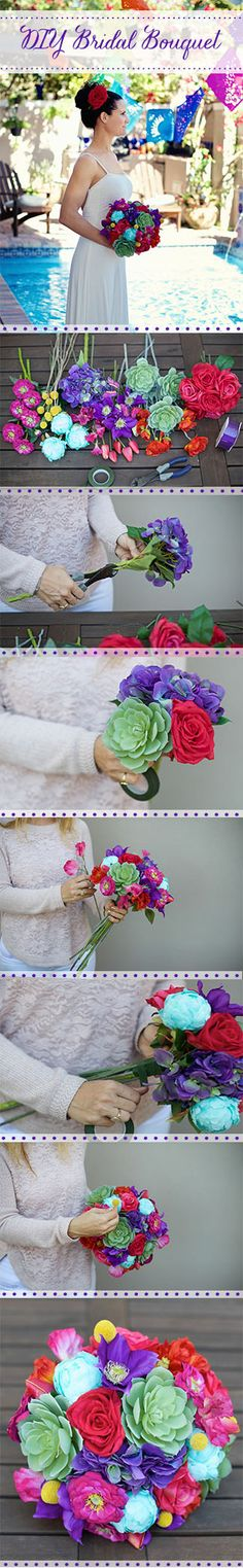 DIY Bridal Bouquet.   1. Select your favorite stems (Like these silk flowers from Afloral.com) 2. Trim off the leaves with wire cutters. 3. Select a few stems and secure with floral tape. 4. Continue to add stems, securing with floral tape each time, until you are satisfied with the size and shape. 6. Add accents to the bouquet, such as billy buttons, butterflies or jewels.  5.  When you are finished adding flowers, trim stems to the same length 6. Wrap stems with ribbon and secure with…