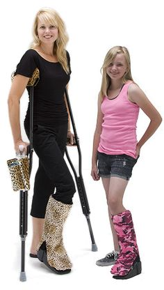 So Happy!! Ordering the Bootz! cover and the CrutchWear crutch covers!! These orthotic boot covers were made for walking! Cover your boot with our fashionable designs available in custom sizes.
