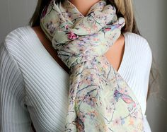 Bird Scarf Celadon Green Floral Tree Branches Womens Shawl Long Soft Warm Infinity Scarves Beach Wrap Spring