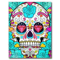 Hipster Sugar Skull and Teal Blue Floral Roses Postcard - what a long strange trip it's been {:-)