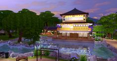 Kinkaku-ji Temple - The golden pavilion *not an exact reconstruction but playable for Sims 4! Garden park and temple with full amenities, activities inside and outdoors, the pond is a swimming pool. CC free, please use the bb.moveobjects cheat before placement! [Download] http://poponopun.tumblr.com/post/112651105128/fayesta-kinkaku-ji-temple-the-golden-pavilion