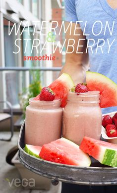 Watermelon & Strawberry Smoothie: This sweet and fruity Watermelon & Strawberry Smoothie from Erin Ireland tastes like a splurge, but with Vega One French Vanilla, a touch of maple syrup and fruit as its sweetener, your sugar radar can rest easy. #VegaSmoothie #BestSmoothie