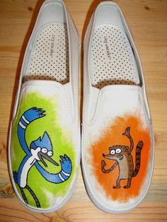 Handpainted Regular Show Mordecai Rigby Shoes