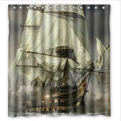 Cool-Pirate-Ship-Waterproof-Bathroom-Shower-Curtain-Polyester-Fabric-66-NEW ebay $14