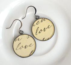 Resin dangle earrings love drop earrings by izabellahansendesign