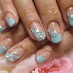 .diagonal french with rhinestones & glitter