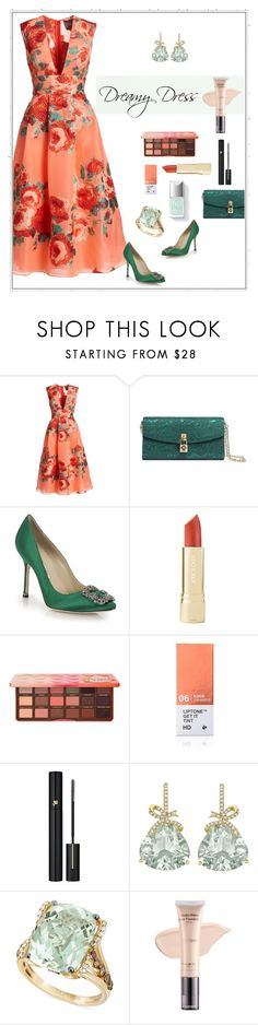 """""""The Event"""" by patricia-dimmick ❤ liked on Polyvore featuring Lela Rose, Dolce&Gabbana, Manolo Blahnik, Too Faced Cosmetics, Tony Moly, Lancôme, Kiki mcdonough, LE VIAN, FaceBase and dreamydresses"""