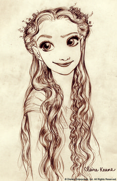 drawn-to-life: A Claire Keane drawing of Rapunzel for Disney's Tangled. Claire Keane is the daughter of Glen Keane, and Glen Keane has animated memorable characters such as. Disney Pixar, Walt Disney Animation, Disney Films, Disney And Dreamworks, Disney Characters, Disney Wiki, Disney Kunst, Arte Disney, Disney Magic