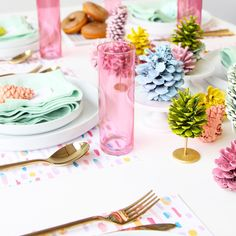 Aww Sam for A Subtle Revelry-  painted pine cone table runner