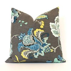 "Modern grey yellow blue Decorative Designer Pillow Cover 18"" Accent oriental floral chinoiserie gray charcoal midnight black flowers aqua"