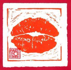 Hot Lips - linosnede Mobile Art, Kitchen Art, Pop Art, Flag, Hot, Art Pop, Torrid, Flags