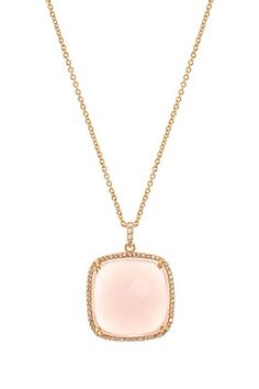 CZ by Kenneth Jay Lane Rose Gold Plated Cushion Mother of Pearl Doublet & Pave CZ Pendant Necklace