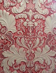 "This is a beautiful way to deal with textured wallpaper.""To achieve this effect on anaglypta wallpaper, use water based paints and apply red paint to a white acrylic primer based coat. Drag and wipe to create cream highlight coat. Anaglypta Wallpaper, Embossed Wallpaper, Pink Wallpaper, Textured Wallpaper, Textured Walls, Tapestry Wallpaper, Unusual Wallpaper, Amazing Wallpaper, Wallpaper Stores"