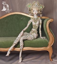 `Little Dragon` by marmite-sue. 34cm tall, one of a kind porcelain Angel Egg doll. Entirely hand made, installed with Opal stones, fresh water pearls and Swarovski crystals.