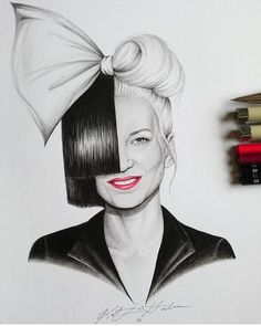 Artwork by Katja Honkonen Sia Costume, Sia Kate Isobelle Furler, Sia Music, Sia And Maddie, Celebrity Drawings, Famous Singers, Tumblr Photography, Powerful Women, Art Sketches