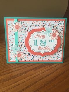 Memorable moments stamp set, birthday bash dsp, Bermuda bay and calypso coral card stock and ink, petite petals stamps, labels collection framelits