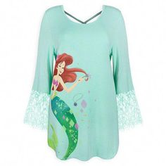 GAP DISNEY Shirt Sz 10 /& 12 Ariel Little Mermaid Graphic Sequin Silver Teal