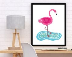 Modern Flamingo in a Puddle Printable, Flamingo Poster, Flamingo Art, Flamingo Wall Decor, Nursery Decor, Kid's Room Wall Art by StudioGlindda on Etsy