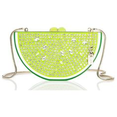Kate Spade Breath Of Fresh Air Jeweled Lime Slice (3.203.720 IDR) ❤ liked on Polyvore featuring bags, handbags, clutches, man bag, kate spade clutches, lime green handbag, kate spade handbag and green handbags