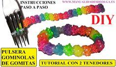 COMO HACER PULSERA GOMINOLAS DE GOMITAS CON 2 TENEDORES  (GUMDROP II BRA...