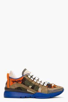 DSQUARED2 Orange & Khaki Camo Low Top Sneakers
