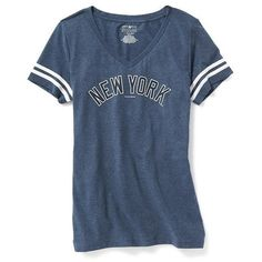 "Old Navy MLB""¢ V Neck Tee For Women ($23) ❤ liked on Polyvore featuring tops, t-shirts, shirts, stripe t shirt, short sleeve shirts, v neck t shirts, logo t shirts and blue striped shirt"