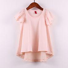 2015 baby girls children shirt girls fashion summer cotton chiffon tops Kids puff sleeve solid color blouses short sleeve(China (Mainland))