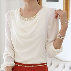 Chiffon blouses with long sleeves blouse slim belly bottom-covering loose blouse