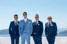 Santorini groom Steven chose a bright royal blue three piece suit for his wedding. Beach Wedding Men, Beach Wedding Attire, Wedding Suits, Light Blue Suit Wedding, Blue Tux, Blue Suits, Blue Three Piece Suit, Blue Groomsmen, Groom Suits
