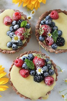 PaleOMG of July Mixed Berry Vanilla Bean Cream Tarts (Baking Desserts Fruit) Tart Recipes, Sweet Recipes, Dessert Recipes, Cooking Recipes, Dessert Ideas, Dessert Tarts, Cooking Icon, Fruit Dessert, Pastry Recipes
