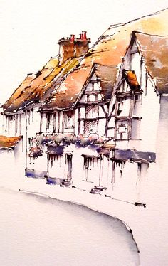 Watercolor Painting Techniques, Watercolor Projects, Watercolor Landscape Paintings, Pen And Watercolor, Abstract Landscape, Painting & Drawing, Watercolor Architecture, Cottage Art, Draw On Photos