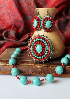 Items similar to Turquoise Red Brooch Beadwork Turquoise Brooch Bead Emboidery Brooch Embroidered Jewelry Ethnic Tribal Jewelry Turquoise MADE TO ORDER on Etsy Red Jewelry, Tribal Jewelry, Boho Jewelry, Beaded Jewelry, Beaded Necklace, Jewelry Sets, Red Turquoise, Turquoise Earrings, Bead Embroidery Jewelry