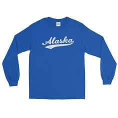 Vintage Alaska AK Long Sleeve T-Shirt with Script Tail Design Adult