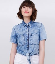 Camisa Cropped Jeans - Renner