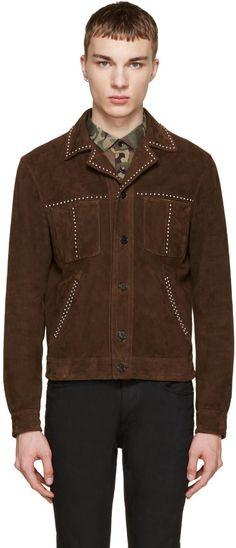 Image of Saint Laurent Brown Studded Suede Jacket