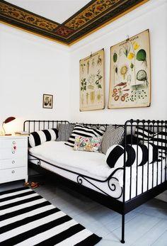 Black   White striped decor