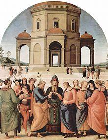 Pietro Perugino/ El matrimonio de la Virgen (inspiración para Rafaello).