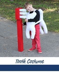 Step by step tutorial on creating a kids tooth costume for Halloween! Love that oversized brush accessory.