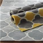 Cloverleaf Quatrefoil with Gray - 3 colorsThis classic quatrefoil pattern outlined in white loop pile is fresh and modern in popular gray color combinations. Crisp color contrast and simple geometry are woven in a plush cut and loop pile construction for dimension and durability. Select from Yellow with charcoal gray, Sea Blue with silver, or charcoal Gray with silver. 100% Poly/Acrylic pile can be spot cleaned with mild soap and water.