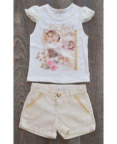Conjunto shorts em piquet e blusinha Gabriela Aquarela