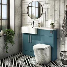 Arezzo 1100 Matt Green Semi-Recessed Round Combination Vanity Unit (Chrome Flush & Handles)   Victorian Plumbing UK Family Bathroom, Small Bathroom, Bathroom Ideas, Bathrooms, Combination Vanity Units, Semi Recessed Basin, Matt And Blue, Concealed Cistern, Basin Taps
