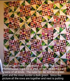 Anna Marie is sharing her Pfeffernüsse quilt from my book String Fling! While mine was made with toasty browns, reds and neutrals she has powered hers up with lime green and pink! I love it! Signed copies available on my website at http://quiltville.com #quilt #quilting #patchwork #quiltville #bonniekhunter #stringquilt #quiltsbyyou