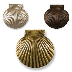 American craftsman, Michael Healy, has created a distinctive line of hand-cast door knockers to add a luxurious coastal touch to your front entry. The Scallop Shell Door Knocker is sand-cast in your choice of solid Brass, Nickel Silver, or Oiled B. Tropical Decor, Coastal Decor, Coastal Living, Home Improvement Center, American Craftsman, Beach Gifts, Nautical Gifts, Home Hardware, Window Hardware